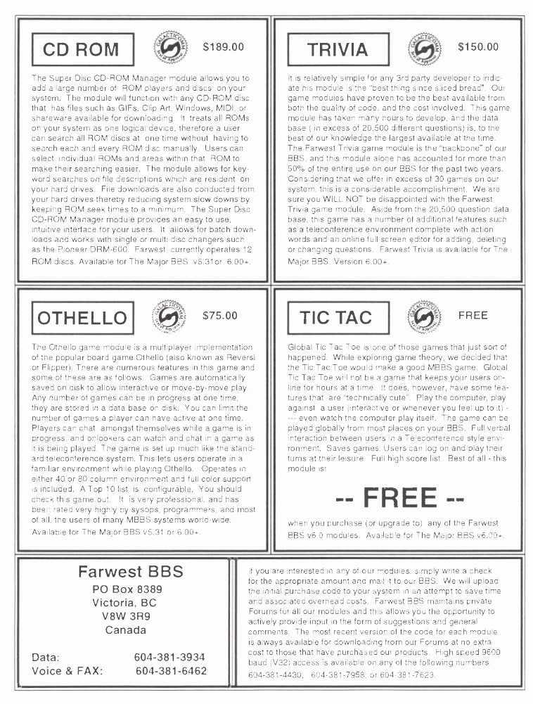 Farwest BBS Advertisement from Major News