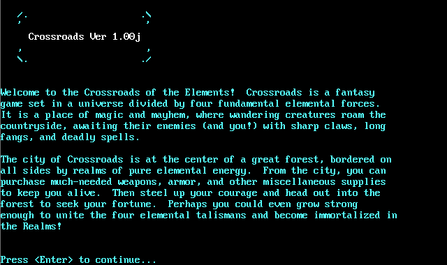Crossroads of the Elements welcome screen